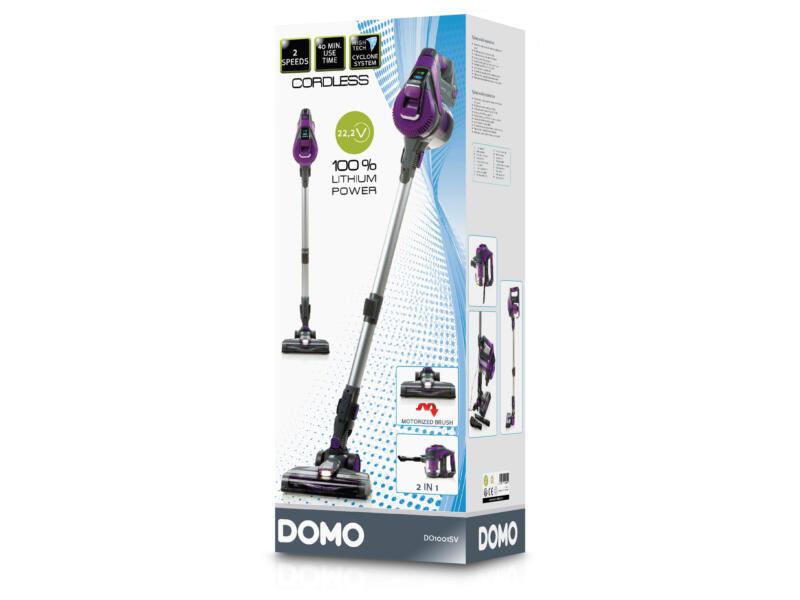 Domo DO1001SV 2-in-1 draadloze steelstofzuiger zonder zak 22,2V
