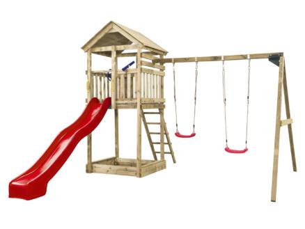 Daan speeltoren + glijbaan rood met wateraansluiting