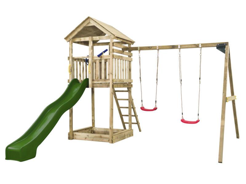 Daan tour de jeux + toboggan vert avec raccordement d'eau