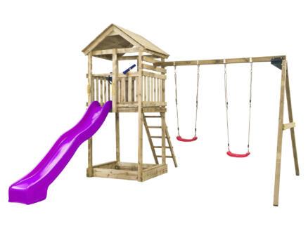 Daan tour de jeux + toboggan violet avec raccordement d'eau