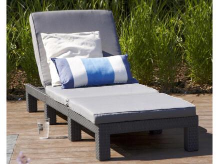 Allibert Daytona bain de soleil + coussin gris
