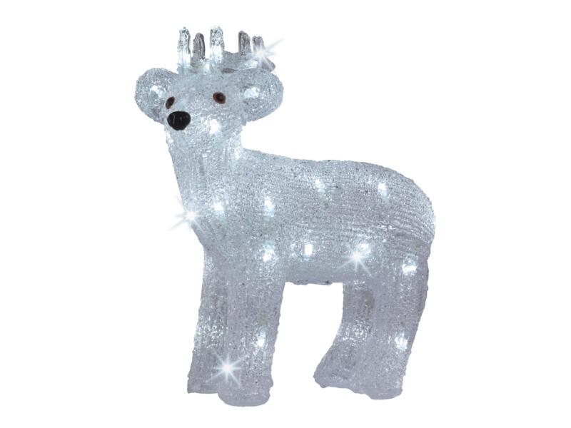 Décoration LED renne lumineuse 30x12x31 cm blanc
