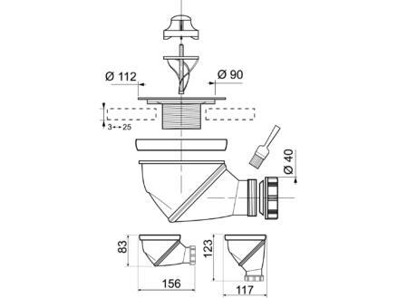 Wirquin Sifon douche D90 uit 40 360°