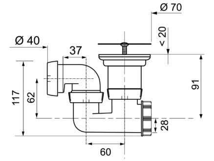 Wirquin Douchesifon met draaibare uitgang D50 40mm