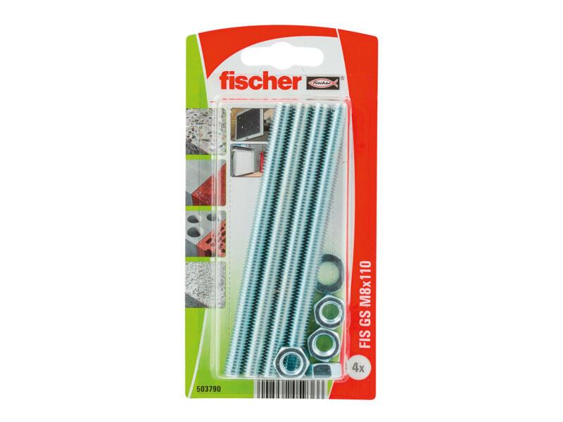 Fischer Draadstang 100x8 mm 4 stuks