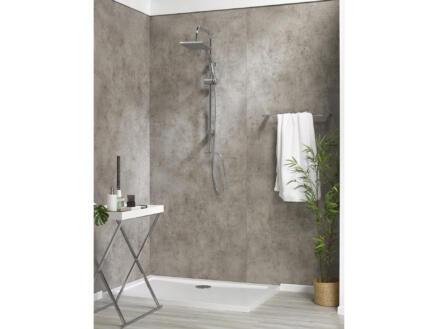 Dumawall XL wandpaneel douche 260x90 cm 4,68m² donker cement 2 stuks