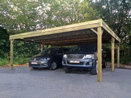 Duo dubbele carport 600x550 cm hout