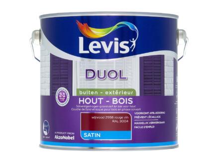 Levis Duol houtlak zijdeglans 2,5l wijnrood