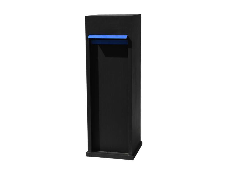 De Witte EX113 brievenbus blauwe hardsteen zwart met klep blauw