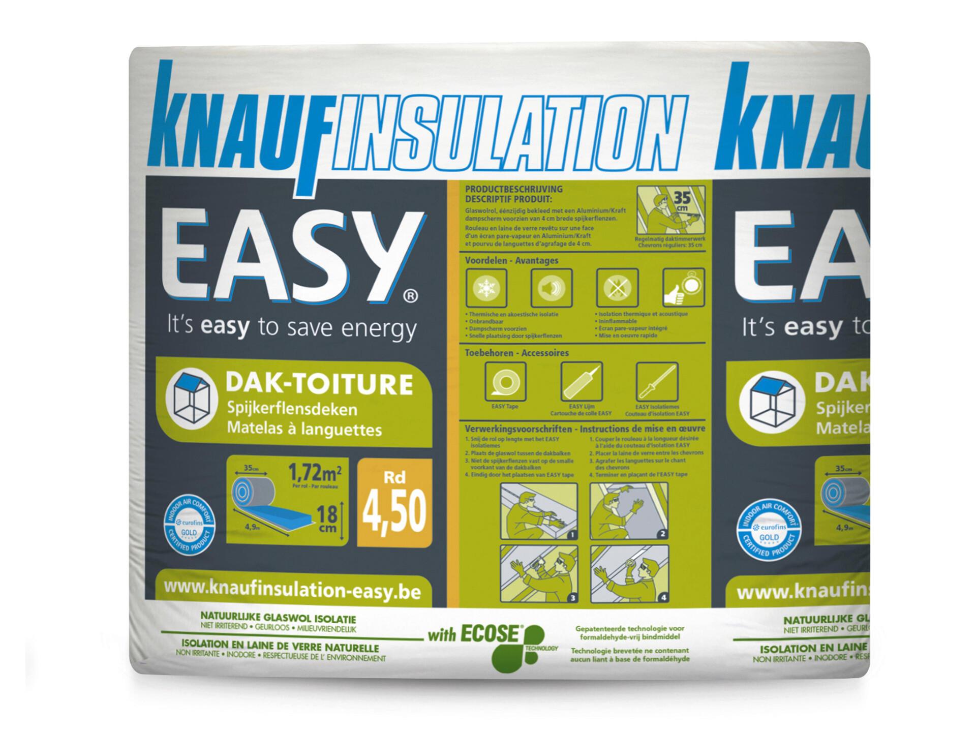Knauf Insulation Easy isolation toiture laine de verre 490x35x18 cm R4,5 1,72m² | Hubo