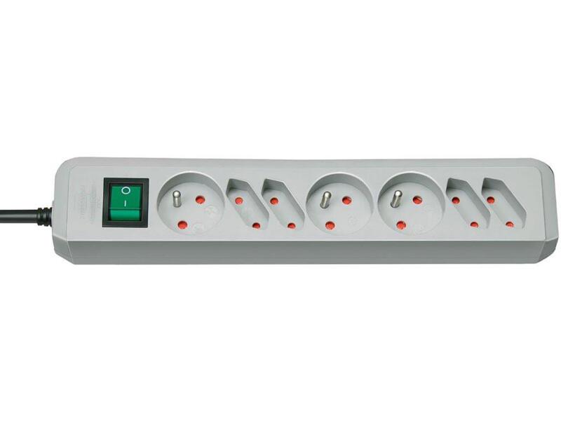 Brennenstuhl Eco-Line stekkerdoos 3x + 4x met schakelaar en kabel 1,5m grijs