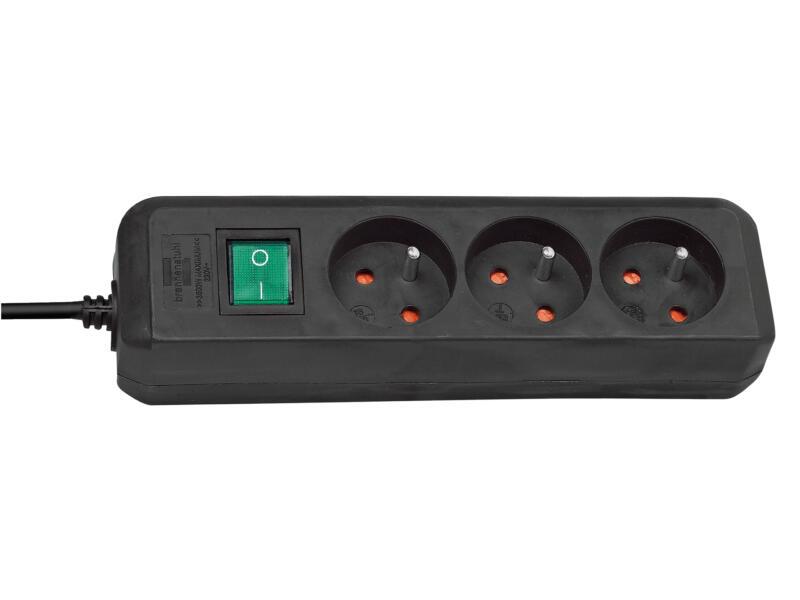 Brennenstuhl Eco-Line stekkerdoos 3x met schakelaar en kabel 1,5m zwart
