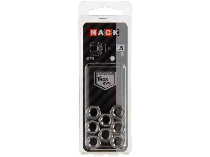 Mack Ecrou hexagonal M8 inox 8 pièces
