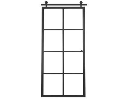 Solid Elegance porte intérieure en acier coulissante réversible 8 vitrages 211x93 cm