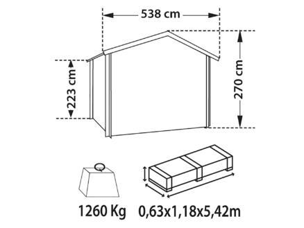 Elista abri de jardin 498x398x223 cm bois