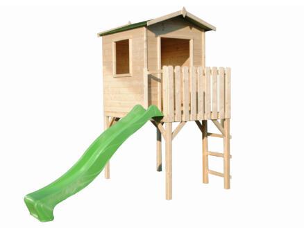 Gardenas Emma cabane enfant sur pilotis + toboggan vert