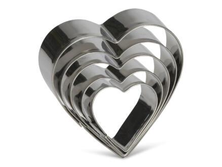 Emporte-pièce coeur inox 5 pièces