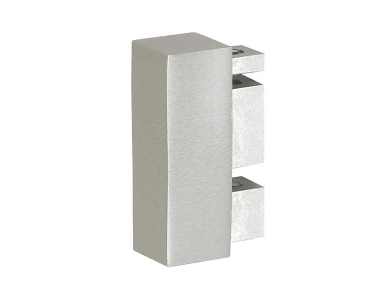 End embout plat pour rail de rideau 32x11 mm look inox 2 pièces