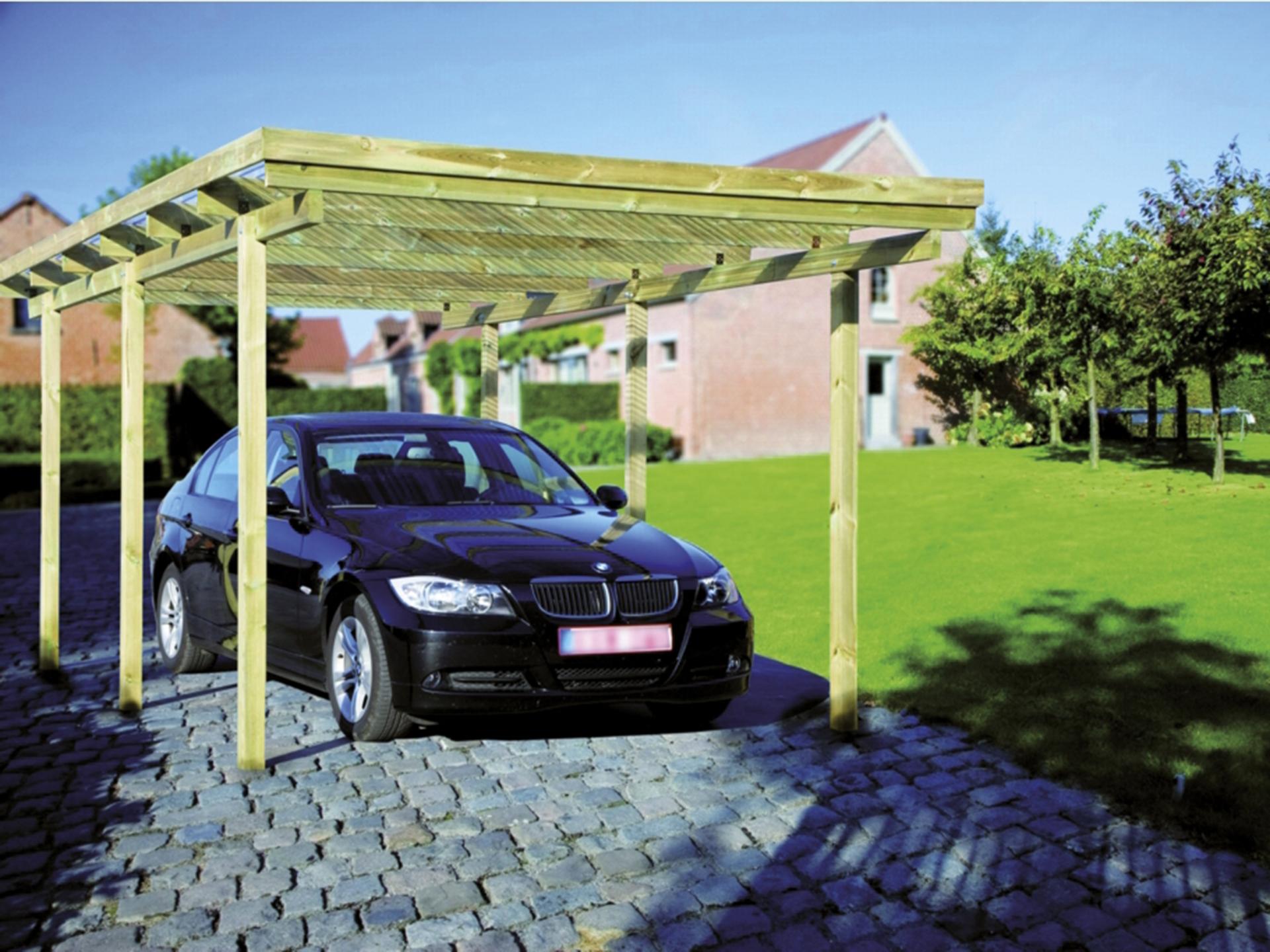 enkele carport 304x510 cm hout met kunststof dak hubo
