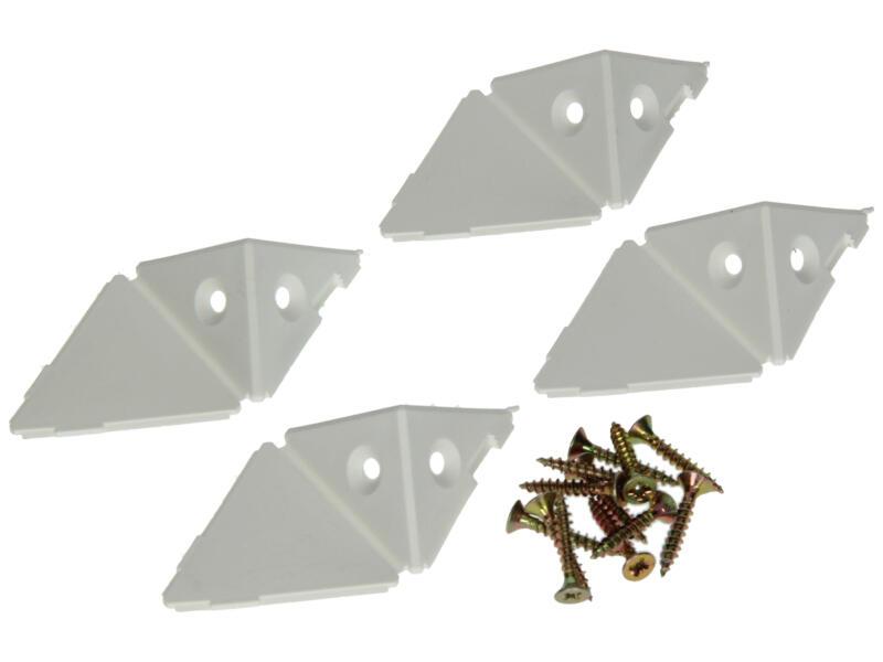 Équerre d'assemblage 3 faces blanc 4 pièces