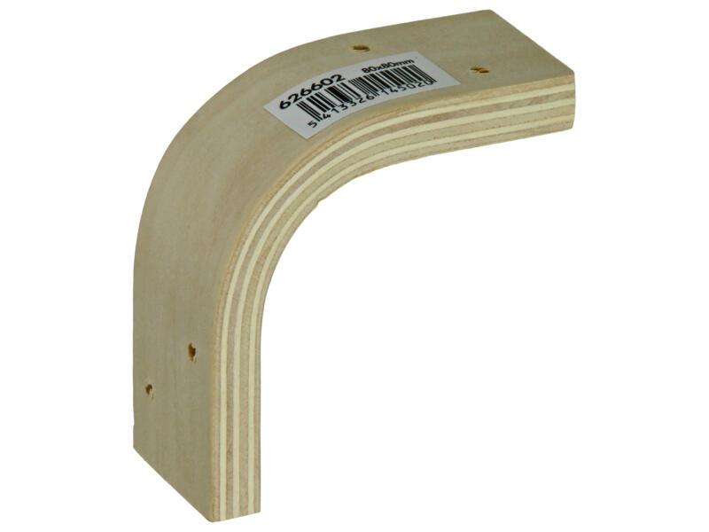Équerre d'étagère multiplex 80x80 mm bois