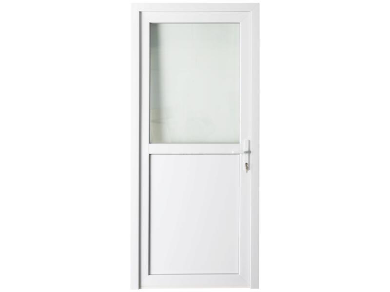 Solid Esterno E01 porte extérieure semi-vitrée ouvrant droit 200x98 cmcm PVC blanc