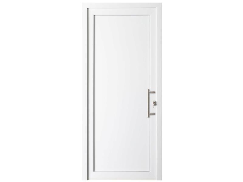 Solid Esterno E02 porte extérieure panneau plein ouvrant droit 200x98 cm PVC blanc