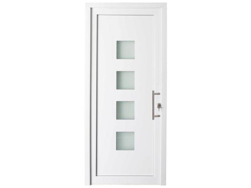 Solid Esterno E05 buitendeur rechts 4 ruitjes 200x98 cm PVC wit