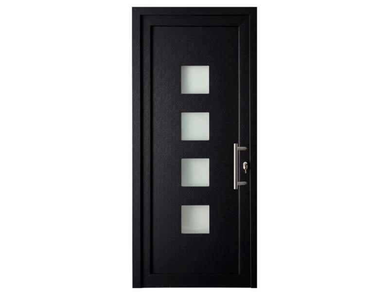 Solid Esterno E05 porte extérieure 4 carreaux ouvrant gauche 200x98 cm PVC anthracite