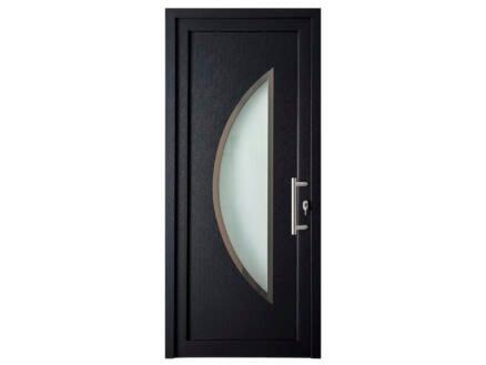 Solid Esterno E07 porte extérieure semi-vitrée lune ouvrant gauche 200x98 cm PVC anthracite