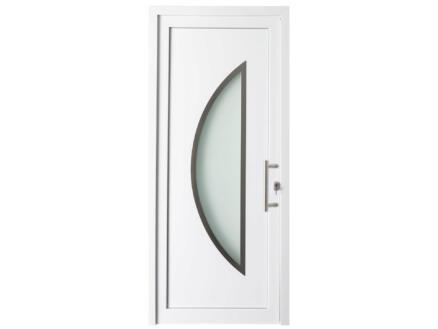Solid Esterno E07 porte extérieure semi-vitrée lune ouvrant gauche 200x98 cm PVC blanc