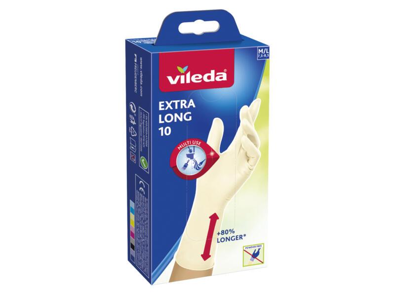 Vileda Extra Long huishoudhandschoenen M/L nitril wit 10 stuks