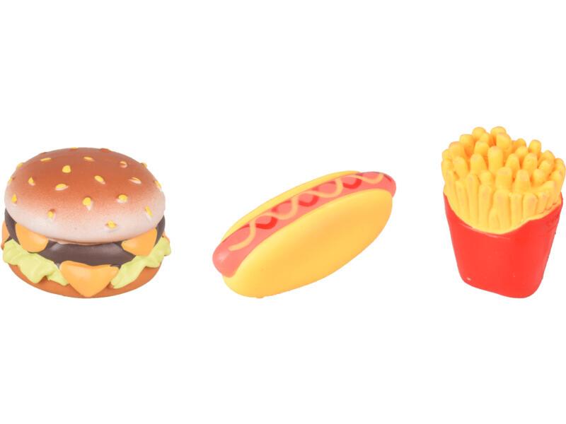 Flamingo Fast Food hondenspeeltje met geluid beschikbaar in 3 vormen