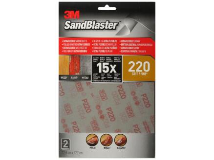 3M Feuilles abrasives universelles flexibles Sandblaster G220 fin (2 pièces)