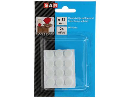 Sam Feutre adhésif 13mm blanc 24 pièces