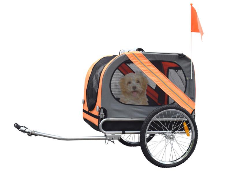 Fietskar voor hond grijs/oranje