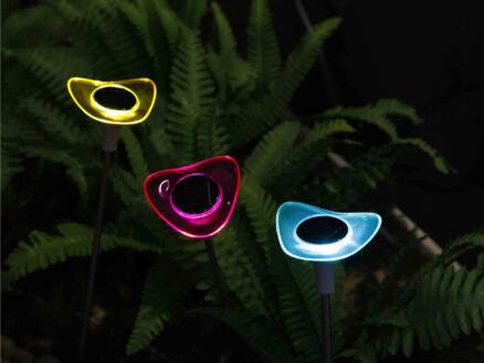 Fleur borne solaire LED 3 couleurs