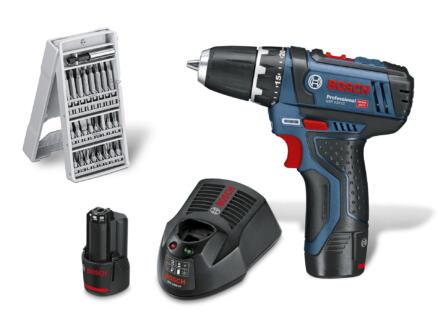 Bosch Professional GSR 12V-15 perceuse-visseuse 12V Li-Ion avec 2 batteries + accessoires