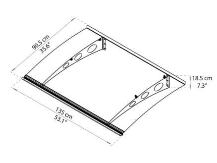 Palram Garamond 1350 deurluifel 135x90,5 helder/grijs