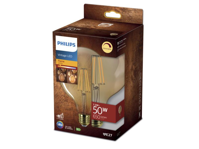 Philips Géant Vintage ampoule LED globe filament verre ambré E27 7,2W dimmable