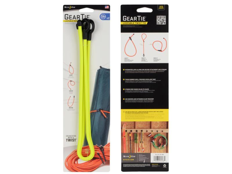 Nite Ize Gear Tie Loopable Twist kabelbinder 628,5x10,16 mm geel 2 stuks