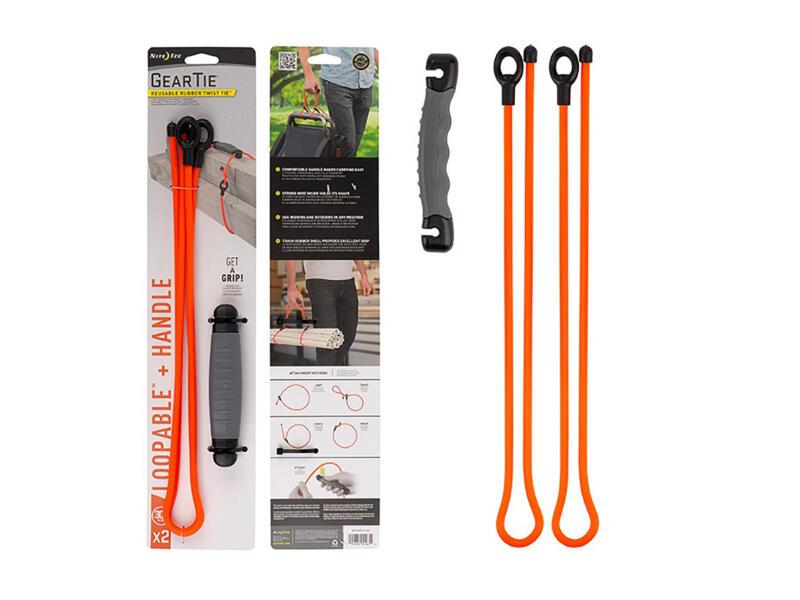 Gear Tie Loopable corde de transport avec poignée 76,2x29,97 mm orange 2 pièces + poignée