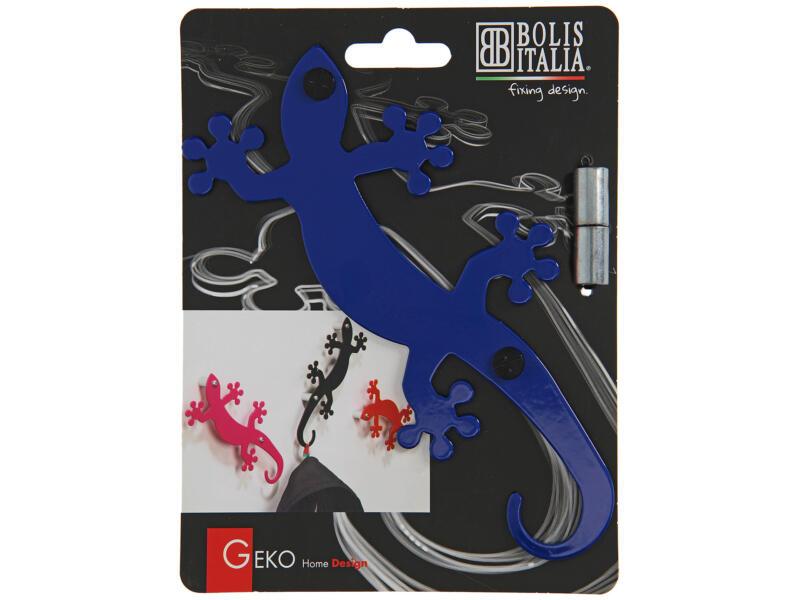 Geko crochet portemanteau 5 crochets bleu