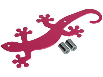 Geko crochet portemanteau 5 crochets rose