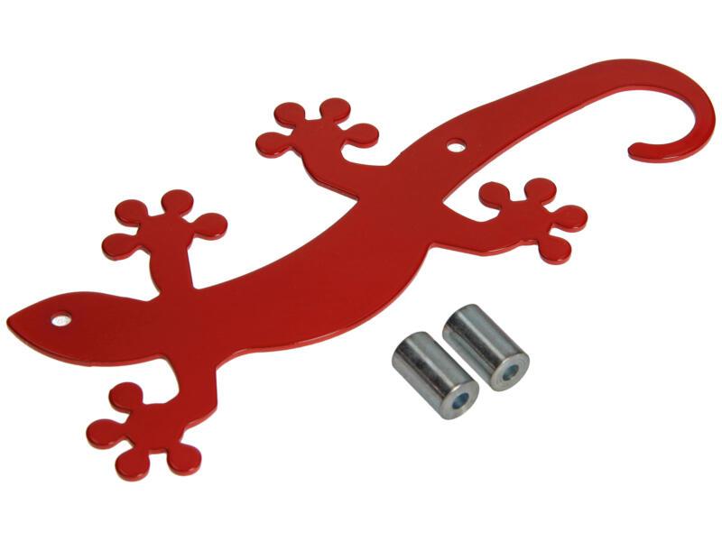 Geko crochet portemanteau 5 crochets rouge