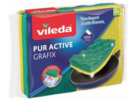 Vileda Grafix Viscose éponge à récurer végétale 2 pièces