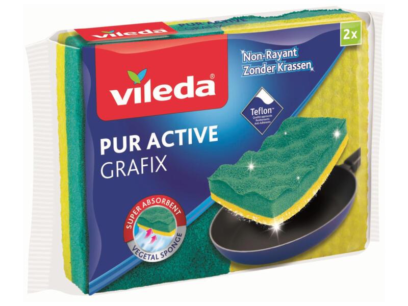 Vileda Grafix Viscose plantaardige schuurspons 2 stuks