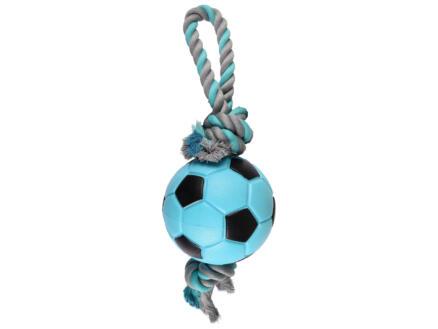 HS Sporty ballon pour chien 12cm avec corde bleu