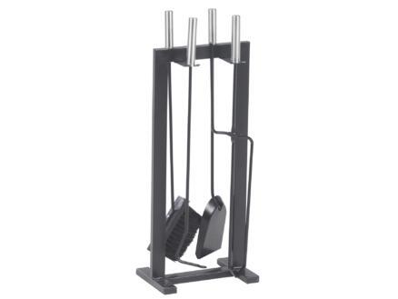 Practo Home Haardset design 5-delig 58,5cm hoog zwart-zilver
