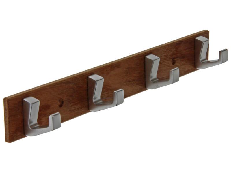 Sam Handdoekrek 4 haken hout en aluminium naturel